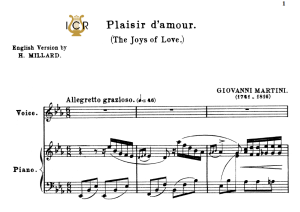 plaisir d'amour, low or medium voice in e flat major (original key), j.p.martini. for soprano, mezzo. tablet sheet music. a5 (landscape). schirmer (1894)