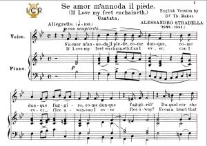 se amor m'annoda, medium voice in b flat major, a.stradella. for mezzo, baritone. tablet sheet music. a5 (landscape). schirmer (1894)