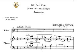 se bel rio, medium voice in f major, r.rontani. for mezzo, baritone. tablet sheet music. a5 (landscape). schirmer (1894)