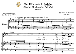 se florindo è fedele, medium voice in a flat major, a.scarlatti. for mezzo, soprano. tablet sheet music. a5 (landscape). schirmer (1894)
