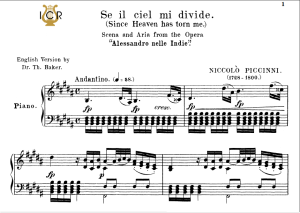 Se il ciel mi divide, Medium Voice in D Minor, N.Piccini. For Mezzo, Baritone. Tablet Sheet Music. A5 (Landscape). Schirmer (1894) | eBooks | Sheet Music