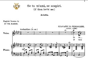 se tu m'ami, medium voice in f minor, g.b.pergolesi. for mezzo, baritone, tablet sheet music. a5 (landscape). schirmer (1894)