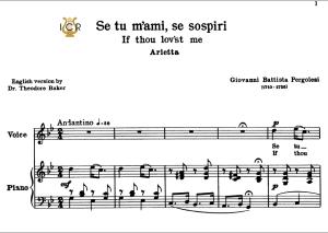 se tu m'ami, high voice in g minor, g.b.pergolesi. for soprano, tenor.  tablet sheet music. a5 (landscape). schirmer (1894)