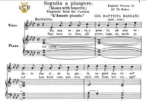 seguita a piangere, medium voice in f minor, g.b.bassani. for mezzo, baritone. tablet sheet music. a5 (landscape). schirmer (1894)