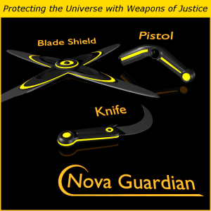 nova guardian weapons for game dev (blend, dae, fbx, obj)