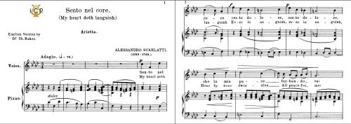 First Additional product image for - Sento nel core, Medium Voice in F Minor, A.Scarlatti. For Mezzo, Baritone.  Tablet Sheet Music. A5 (Landscape). Schirmer (1894)