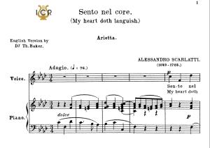 sento nel core, medium voice in f minor, a.scarlatti. for mezzo, baritone.  tablet sheet music. a5 (landscape). schirmer (1894)