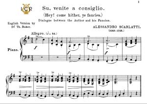su,venite a consiglio, medium-high voice in g major, a.scarlatti. for soprano, tenor.  tablet sheet music. a5 (landscape). schirmer (1894)