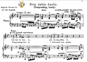 son tutta duolo, low voice in g minor, a.scarlatti. for contralto, bass. tablet sheet music. a5 (landscape). schirmer (1894)