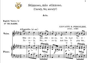 stizzoso, mio stizzoso, high voice in a flat major, g.b.pergolesi. for soprano. tablet sheet music. a5 (landscape). schirmer (1894)