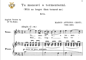 Tu mancavi a tormentarmi, High Voice in C Minor, M.A.Cesti. For Soprano, Tenor. Tablet Sheet Music. A5 (Landscape). Schirmer (1894) | eBooks | Sheet Music