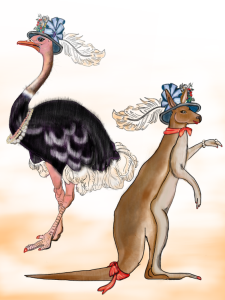 clipart vintage ostrich kangaroo clip art nursery prints ostrich feather pearls jewlery