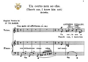 un certo non so che, medium voice in a minor, a.vivaldi. for mezzo,baritone. tablet sheet music. a5 (landscape). schirmer (1894)