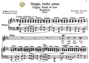 vergin, tutto amor, medium voice in c minor, f.durante. for soprano, mezzo, tenor. tablet sheet music. a5 (landscape). schirmer (1894)