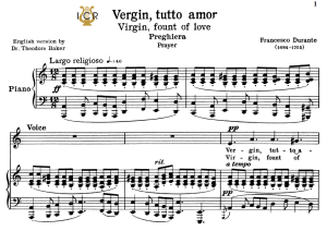 vergin, tutto amor, low voice in a minor, f.durante. transposition for low voice. for contralto, bass. tablet sheet music. a5 (landscape). schirmer (1894).