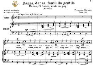 danza, danza, fanciulla; low voice in g minor, f.durante. tablet sheet music. a5 (landscape). schirmer (1894)
