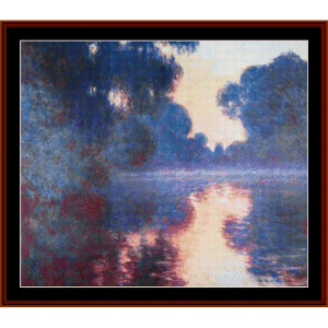 Morning on the Seine IV, Monet cross stitch pattern by Cross Stitch Collectibles | Crafting | Cross-Stitch | Wall Hangings