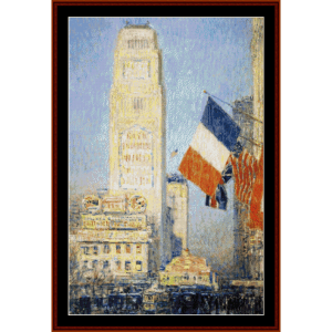West 42nd St., NY - Childe-Hassam cross stitch pattern by Cross Stitch Collectibles | Crafting | Cross-Stitch | Wall Hangings