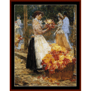Woman Selling Flowers - Childe-Hassam cross stitch pattern by Cross Stitch Collectibles | Crafting | Cross-Stitch | Wall Hangings