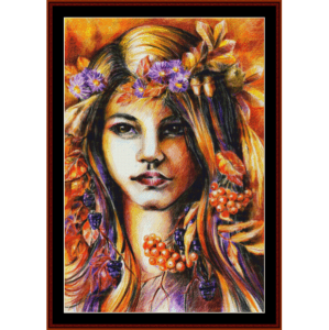 autumn girl - fantasy cross stitch pattern by cross stitch collectibles