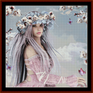 blossom girl - fantasy cross stitch pattern by cross stitch collectibles