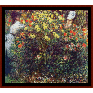 girls in the garden- monet cross stitch pattern by cross stitch collectibles