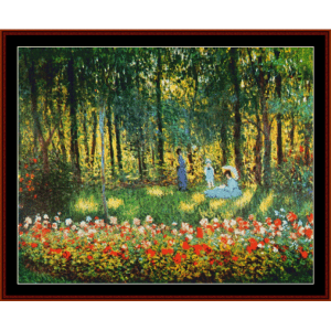 artist's family in the garden - monet cross stitch pattern by cross stitch collectibles