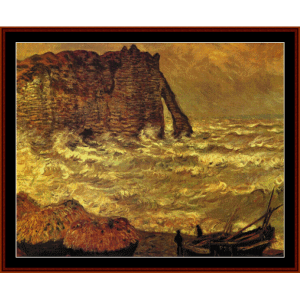 Stormy Sea in Etretat, 1883 - Monet cross stitch pattern by Cross Stitch Collectibles | Crafting | Cross-Stitch | Wall Hangings