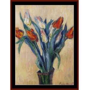 vase of tulips - monet cross stitch pattern by cross stitch collectibles
