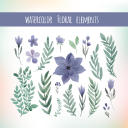 Watercolor floral elements set, floral invitation elements, flower clip art, make your own watercolour wreaths and bouquets, PNG watercolor | Other Files | Clip Art