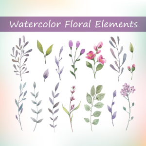 16 watercolor floral elements, watercolor foliage, watercolor leaves, watercolor floral set, floral invitation elements, watercolor set