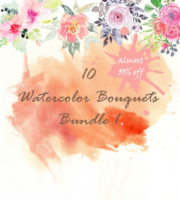 First Additional product image for - 10 watercolor bouquets Bundle1, watercolor flowers, watercolor invitation elements, watercolor cliparts, watercolor floral elements, digital