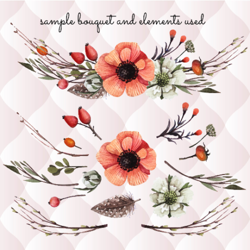 First Additional product image for - 27 watercolor floral elements, watercolor invitation elements, diy watercolor bouquets, watercolor flowers, boho, vintage flowers, clipart