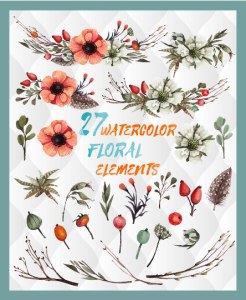27 watercolor floral elements, watercolor invitation elements, diy watercolor bouquets, watercolor flowers, boho, vintage flowers, clipart | Other Files | Graphics