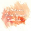 45 watercolor floral elements, watercolor invitation elements, diy watercolor bouquets, watercolor flowers, boho, vintage flowers, clipart | Photos and Images | Clip Art