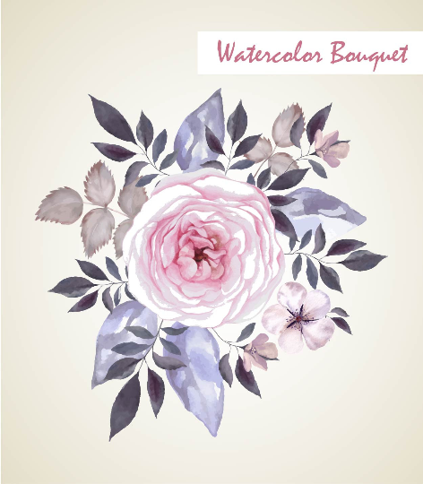 Vintage Watercolor Floral Bouquet Flowers Elements Invitation Clip Arts