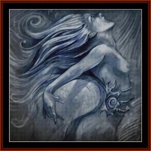 mermaid in blue - fantasy cross stitch pattern by cross stitch collectibles