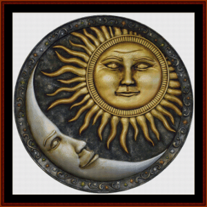 sun and moon circle - fantasy cross stitch pattern by cross stitch collectibles