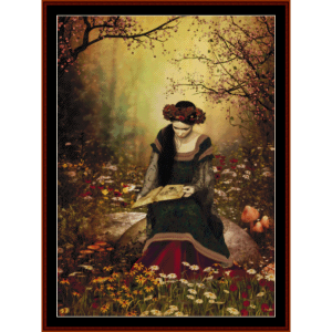 forest reading - fantasy cross stitch pattern by cross stitch collectibles