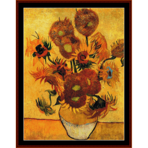 fifteen sunflowers - van gogh cross stitch pattern by cross stitch collectibles