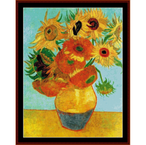 twelve sunflowers - van gogh cross stitch pattern by cross stitch collectibles