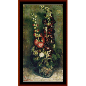 Vase of Hollyhocks - Van Gogh cross stitch pattern by Cross Stitch Collectibles | Crafting | Cross-Stitch | Wall Hangings