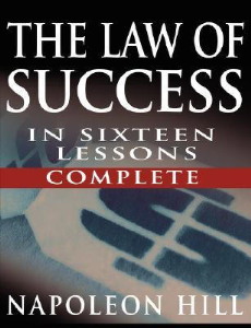 the law of success in 16 lessons by napoleon hill