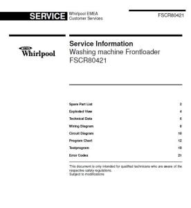 Whirlpool FSCR 80421 FSCR80421 Service Manual | eBooks | Technical