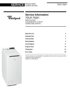 whirlpool tdlr 70221 washing machine service manual