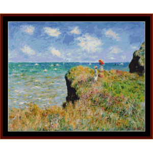 walk at pourville - monet cross stitch pattern by cross stitch collectibles