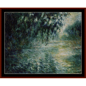 morning on the seine viiii - monet cross stitch pattern by cross stitch collectibles