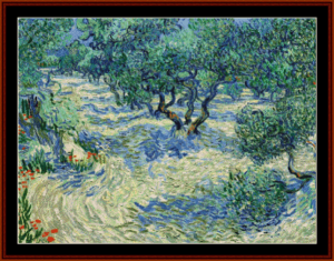 Olive Orchard, 1889 - Van Gogh cross stitch pattern by Cross Stitch Collectibles | Crafting | Cross-Stitch | Wall Hangings