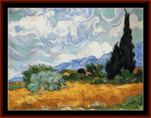 Wheat Field with Cypresses II - Van Gogh cross stitch pattern by Cross Stitch Collectibles | Crafting | Cross-Stitch | Wall Hangings