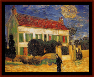 White House at Night, 1890- Van Gogh cross stitch pattern by Cross Stitch Collectibles | Crafting | Cross-Stitch | Wall Hangings